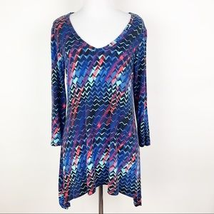 Bobeau Womens Swing Tunic Top Geometric Pattern